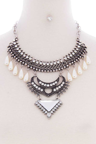 Chunky Pearl Antique Stone Boho Bohemian Statement Necklace Earring Set - LockaMe Designs