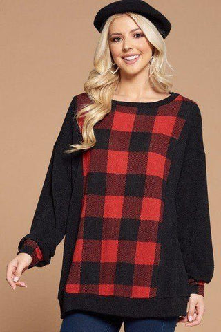 Plus Size Buffalo Plaid Check Contrast Pullover Tunic Top - LockaMe Designs