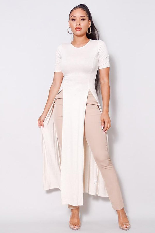 Elbow Sleeve Maxi Tank Top With Side Slits - LockaMe Designs