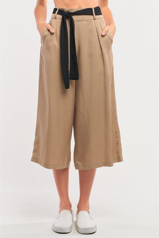 Beige High Waist Self-tie Belt Detail Flare Capri Pants - LockaMe Designs
