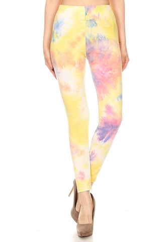 Tie Dye Printed, Full Length, High Waisted Leggings In A Fitted Style With An Elastic Waistband