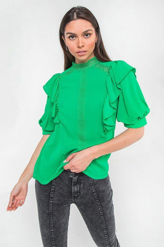 Ruffle Over Shoulder Woven Top - LockaMe Designs