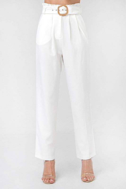 A Solid Pant Featuring Paperbag Waist With Rattan Buckle Belt - LockaMe Designs