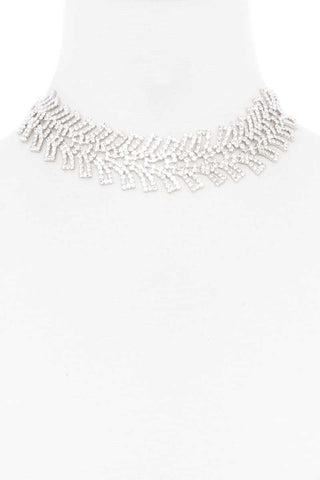 Rhinestone Wide Short Necklace