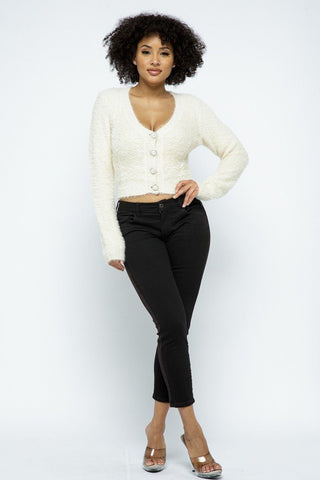 Eyelash Knit Cropped Cardigan With Pearl Button Details