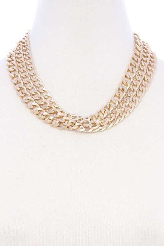 Chunky 3 Layer Cuban Chain Link Metal Necklace