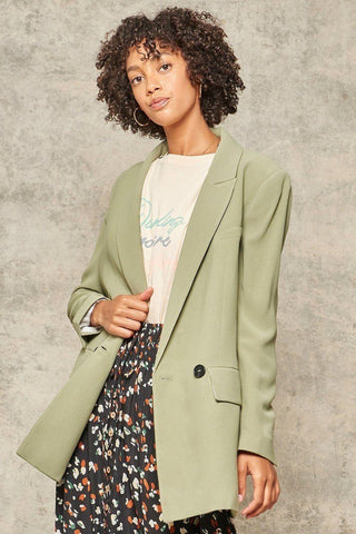 A Solid Woven Blazer Jacket