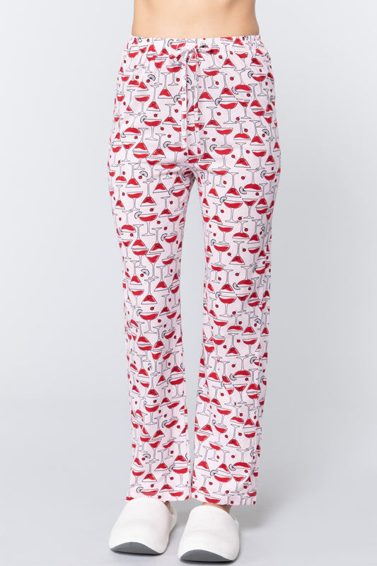 Cocktail Print Cotton Pajama