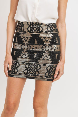 Sequence Pattern Mini Skirt