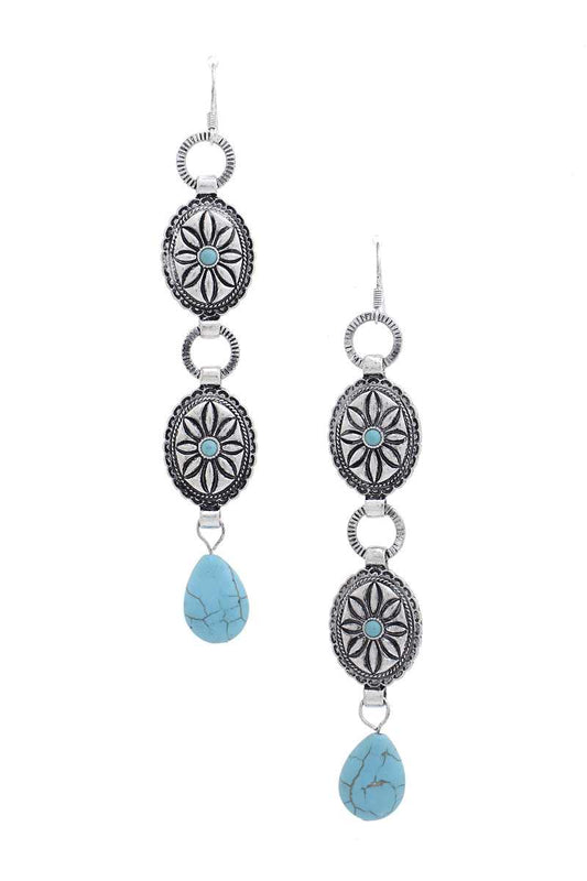 Western Double Concho Turquoise Stone Drop Earring