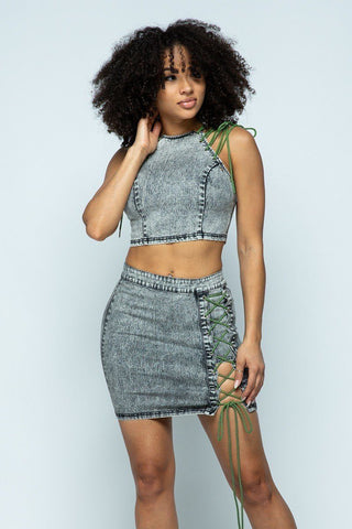 Stretchable Denim Cropped Top/stretchable Denim High-waist Skirt Set