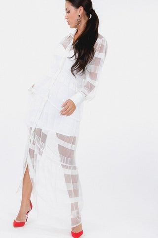 Stripe Pleated Long Sheer Shirt Dress
