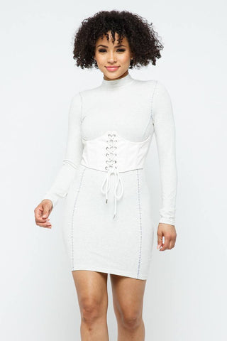 Mock Neck Long Sleeve Bodycon Mini W Bustier Detail And Stitching
