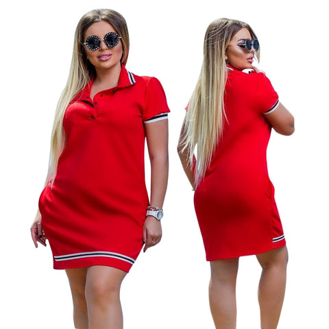 Women Polo Dress Big Oversize Above Knee Mini Dresses