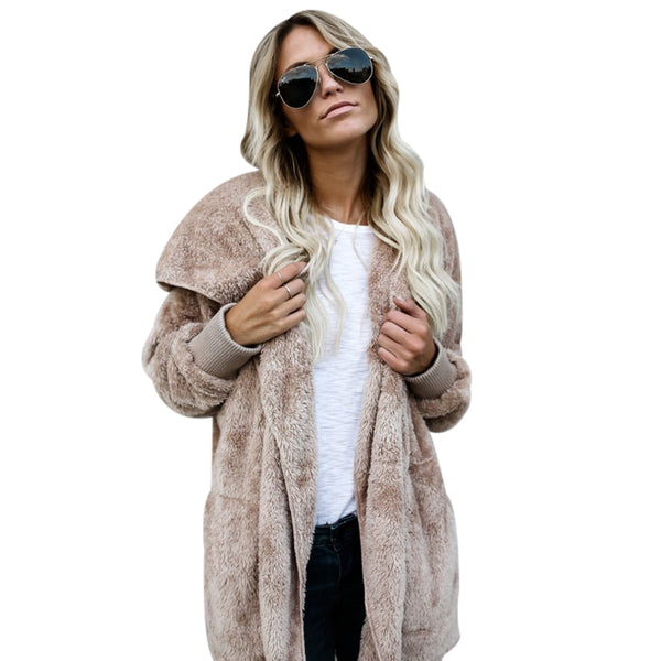 2775c1a6ea798 2017 Winter Womens Luxury Faux Fur Coat Long Sleeve Fluffy Jacket Thick  Warm Ladies Hooded Shaggy