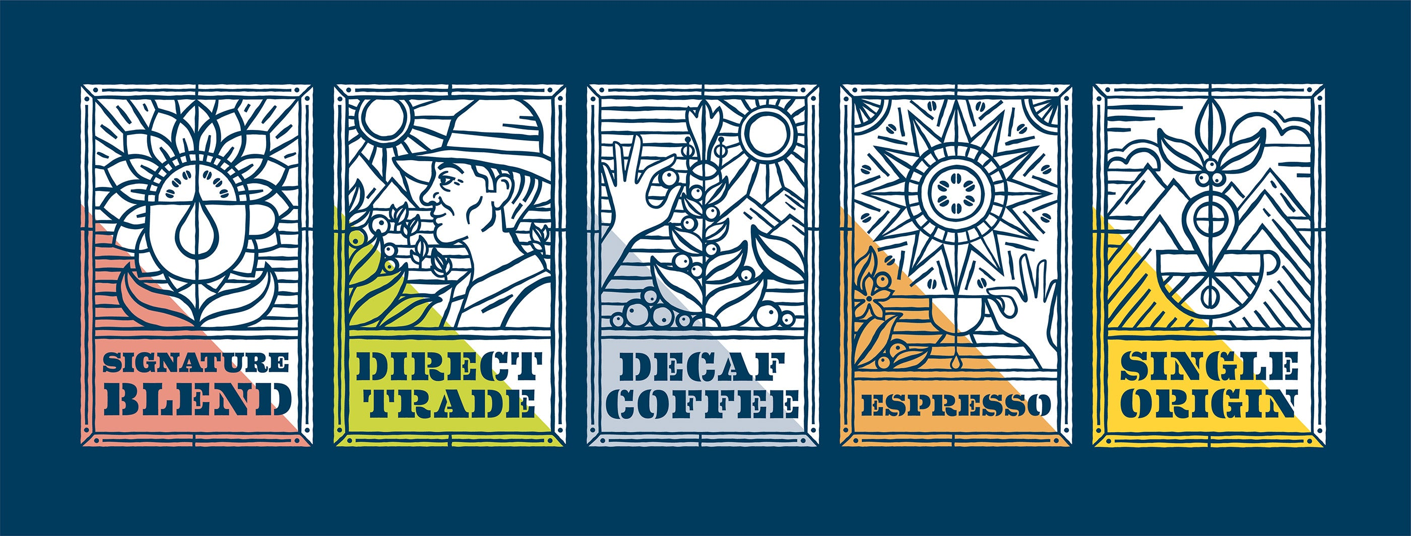 Carpenter Collective Label System for PT's Coffee Roasting Co.