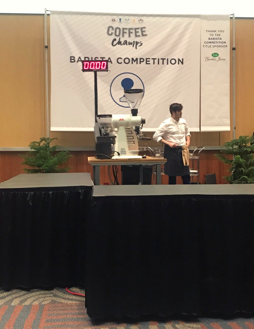 PT's barista Edward Griffin competing at the US Coffee Champs Barista Competition in Reno, NV
