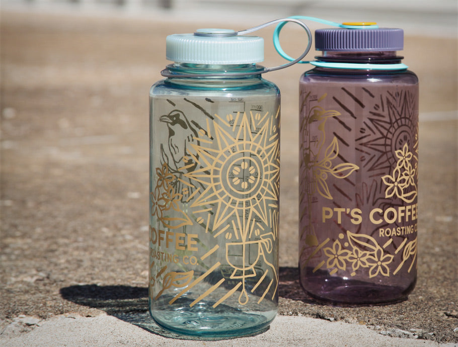 PT's Coffee Seafoam and Aubergine Nalgene Water Bottles