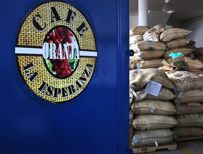 Coffee bags at Granja La Esperanza