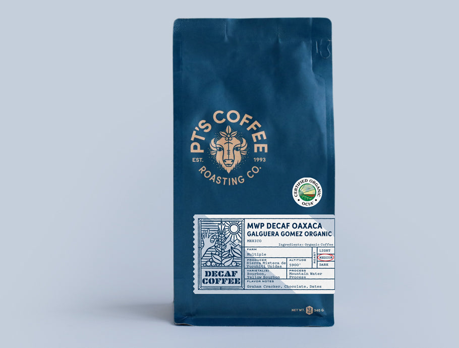 Bag of PT's Coffee MWP Decaf Oaxaca Galguera Gomez Organic