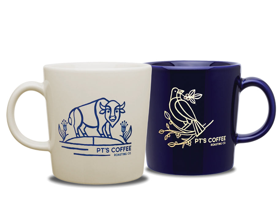 PT's Coffee blue and natural ceramic mugs