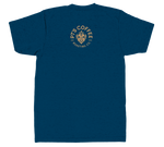 Back of blue t-shirt with PT's Coffee bison logo