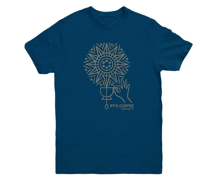 PT's Coffee navy T-shirt with mandala design