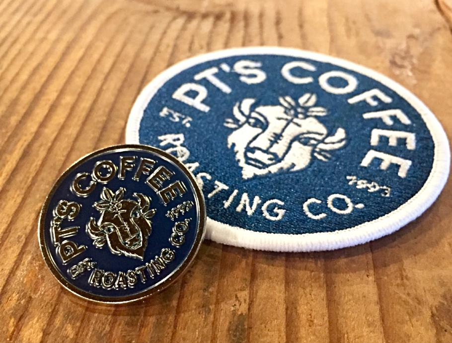 PTs Coffee bison logo enamel pin and embroidered patch