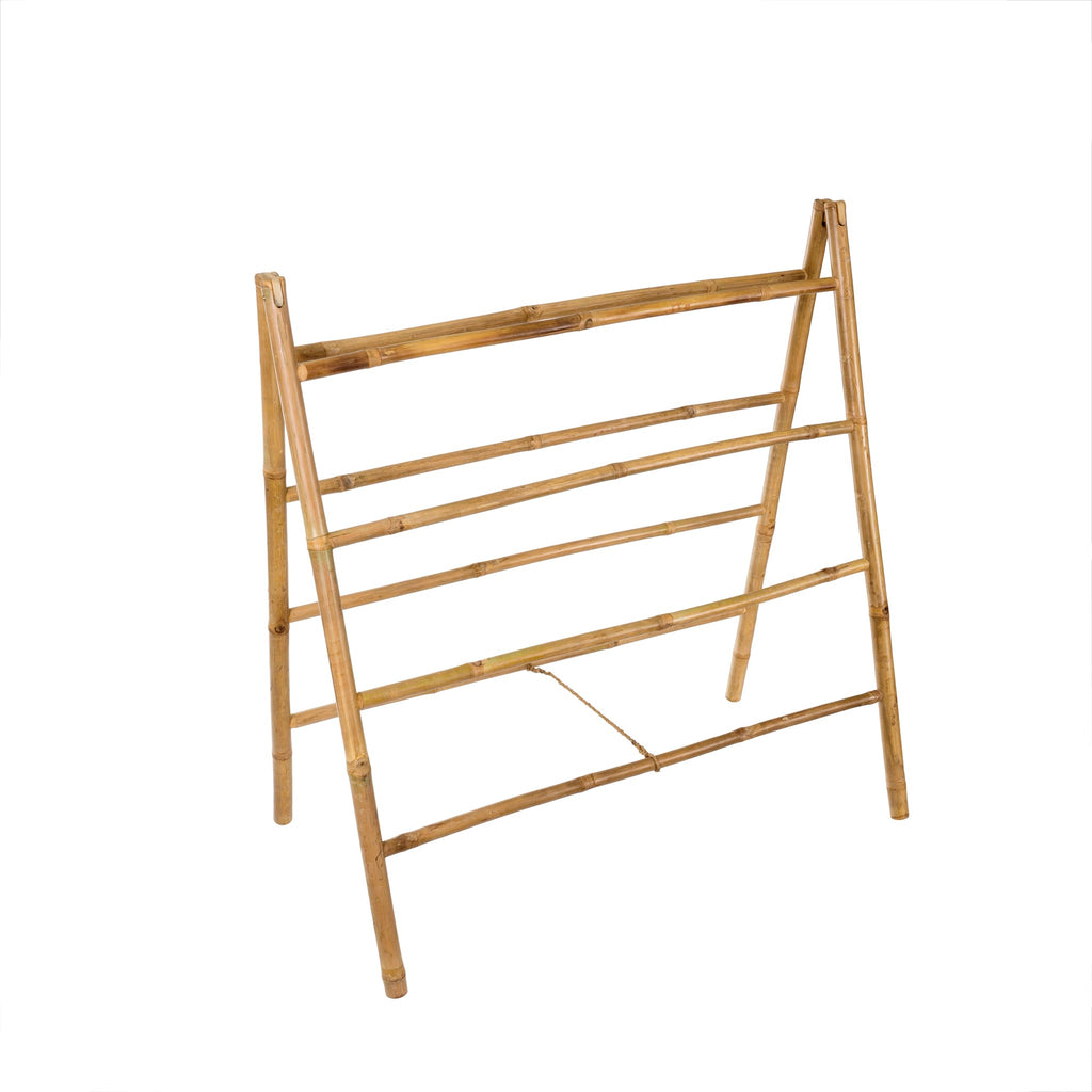 Bamboo display ladder ideal for displaying prized blankets or textiles.