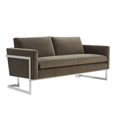 Contemporary upholstered sectional with metal base