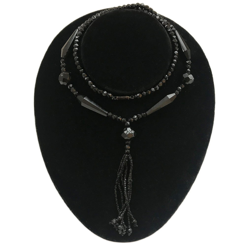 C1920's Faceted Jet Black Bead Necklace