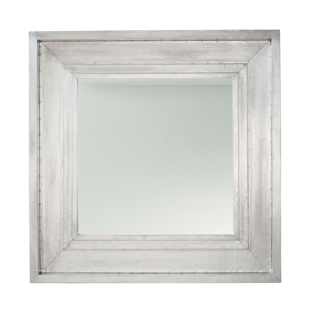 Polished Aluminum and Wood Mirror