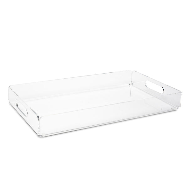 Various clear acrylic trays are ideal for organizing every surface.