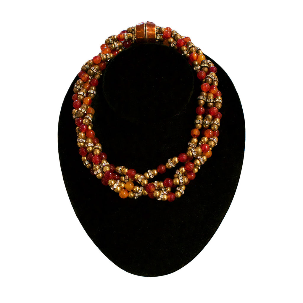 Vintage Twisted Faux Amber Necklace c.1960s