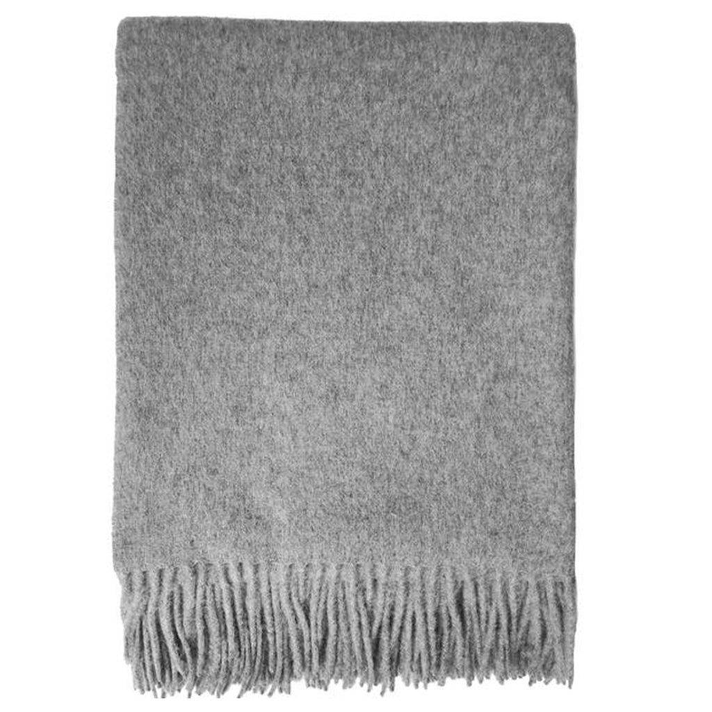 Solid Light Grey Alpaca And Wool Throw