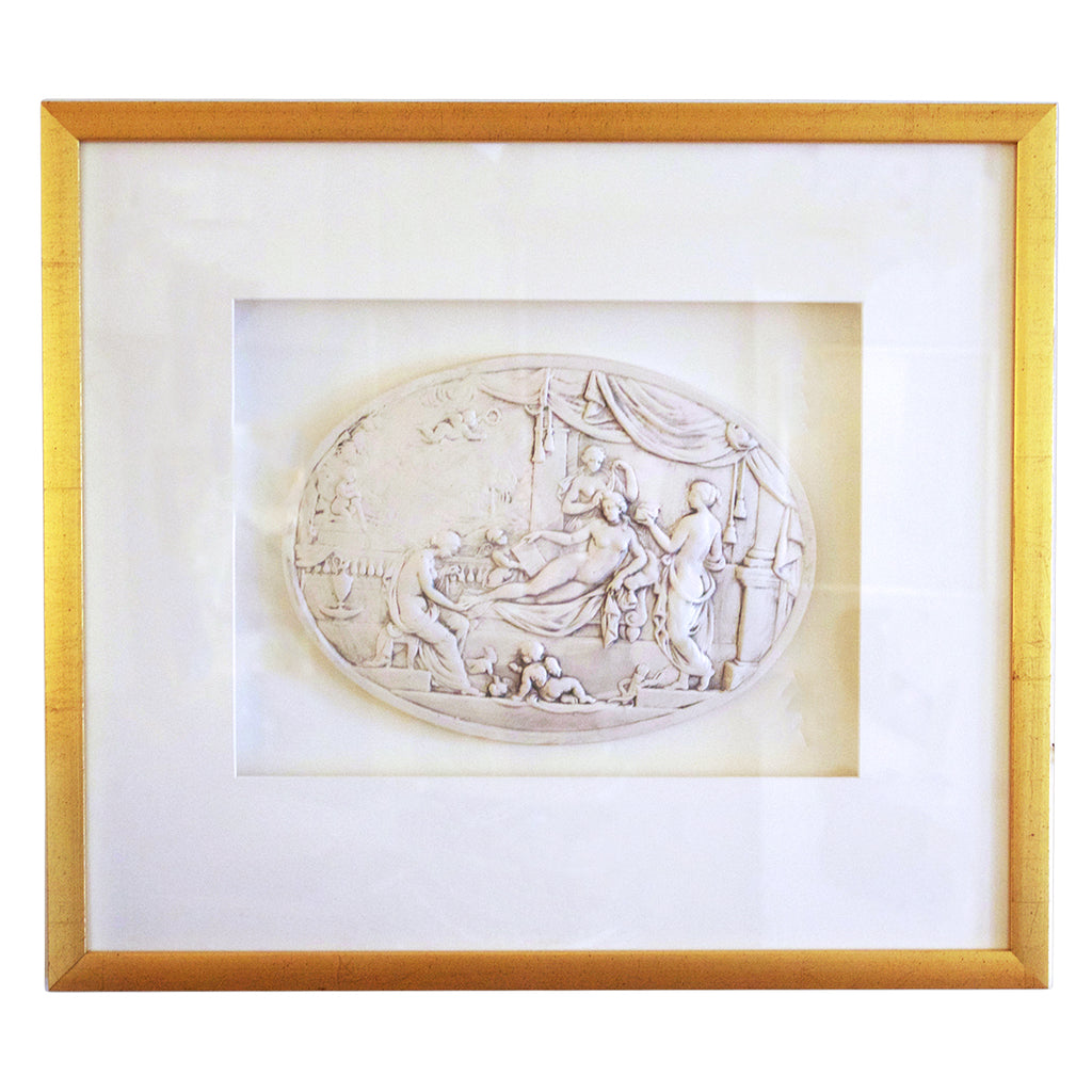 19th Century Framed Bisque Plaque