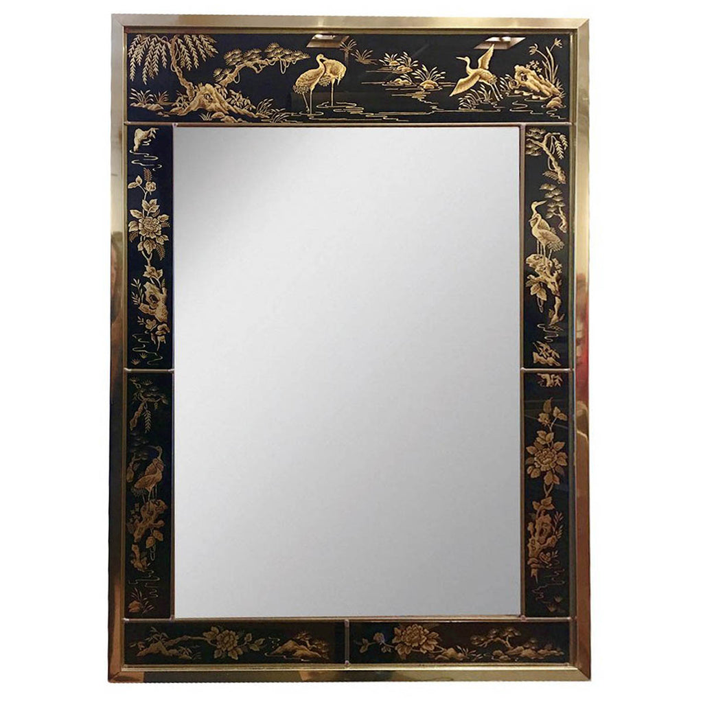 Chinoiserie Black And Gold Mirror