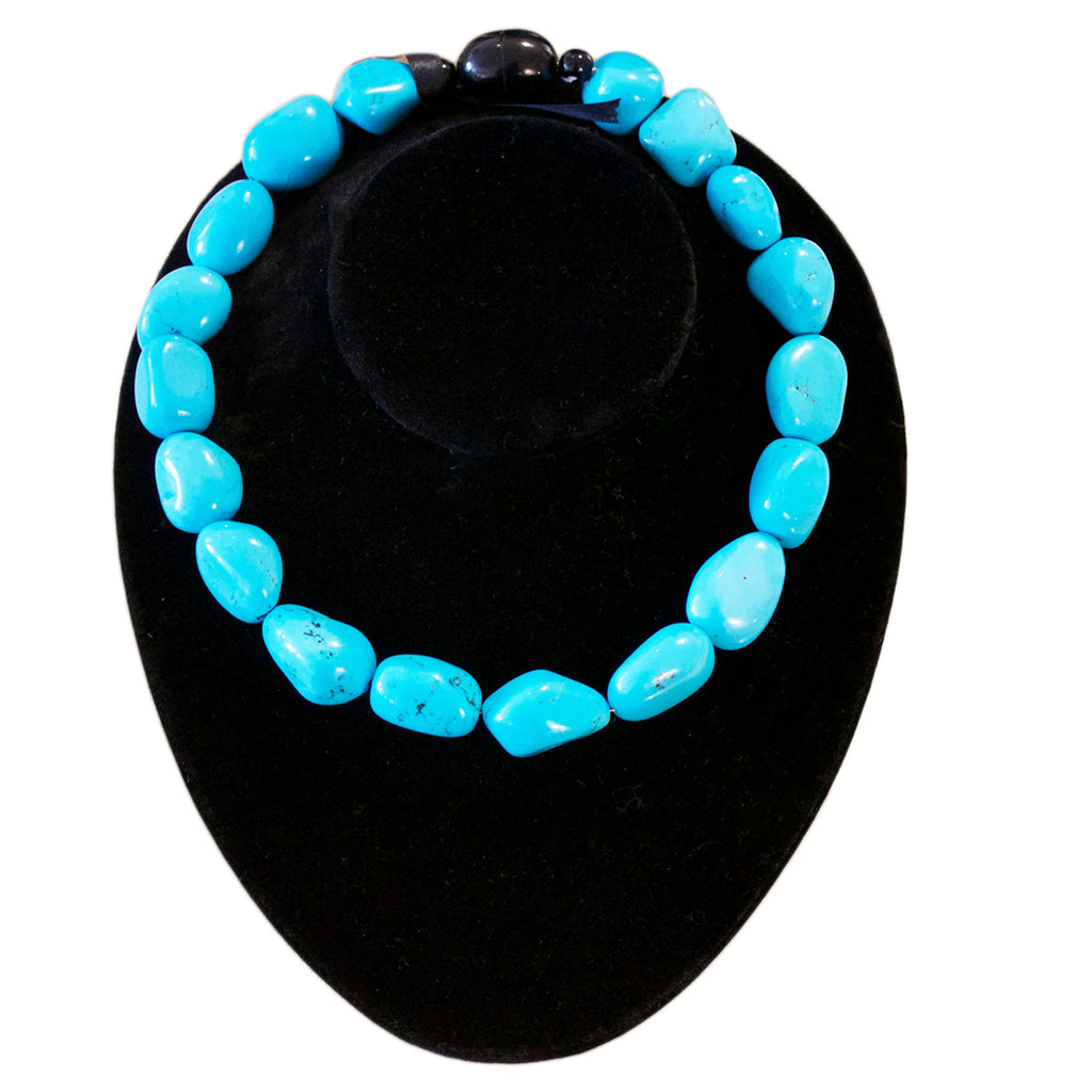 French Faux Turquoise Bead Necklace