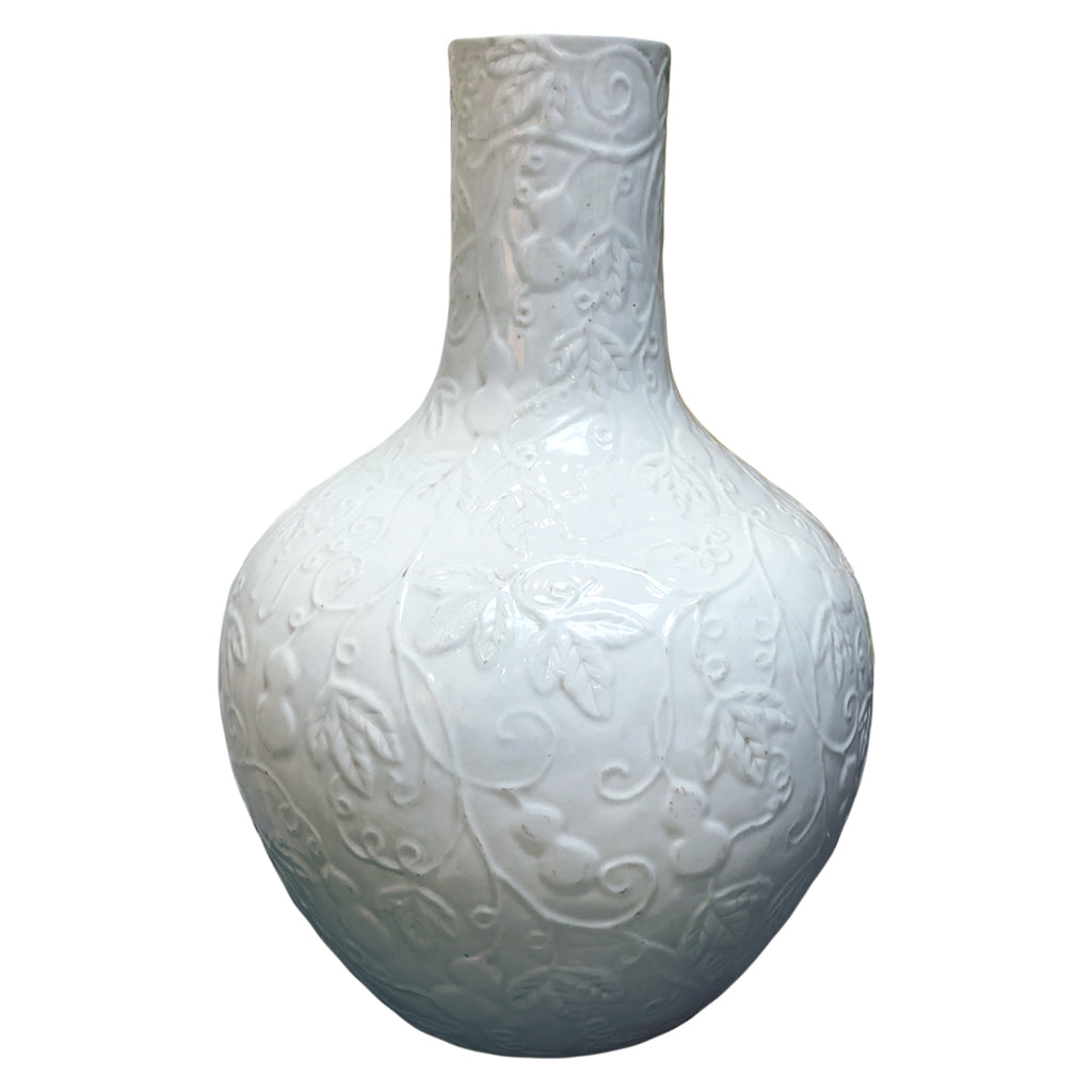 Large Ceramic Leaf Vine Motif Vase