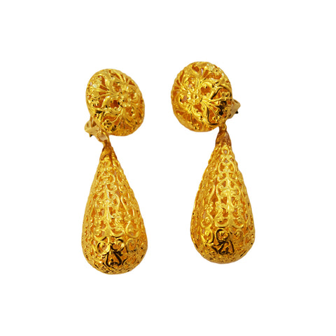Pair of French Poggi Filigree Earrings