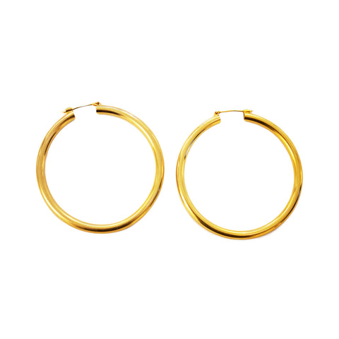Pair of large French gold hoops earrings by Poggi Paris.