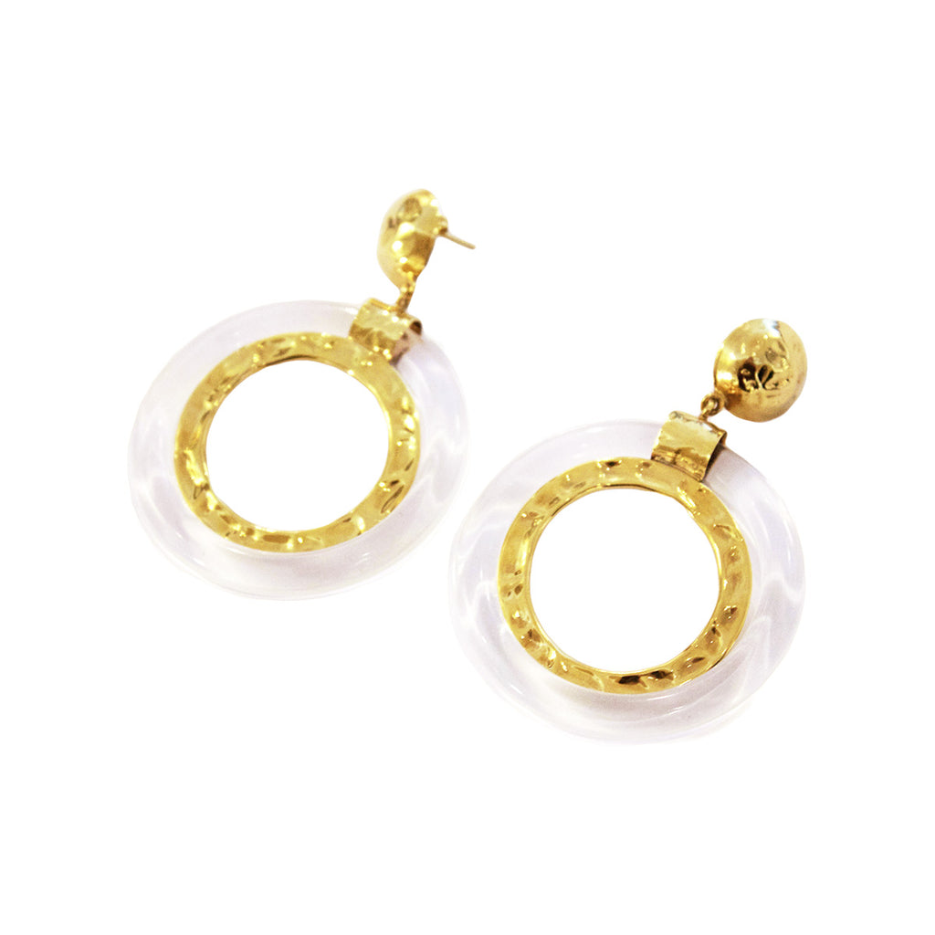 Pair of French Poggi Paris lucite and gold metal hoop earrings.