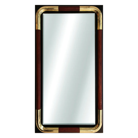 Tubular Wood and Brass accent mirror