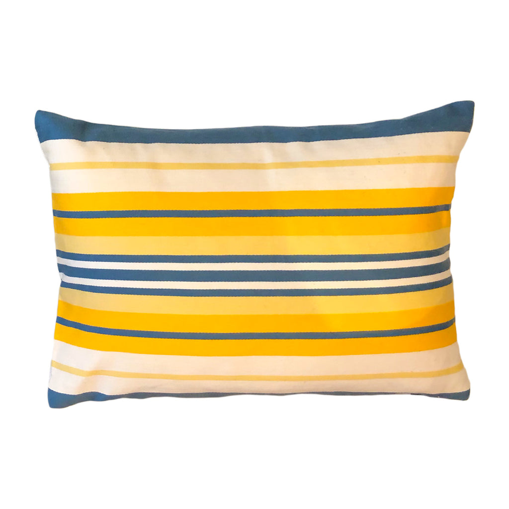 Brunschwig And Fils Blue / Yellow Stripe Fabric Pillow