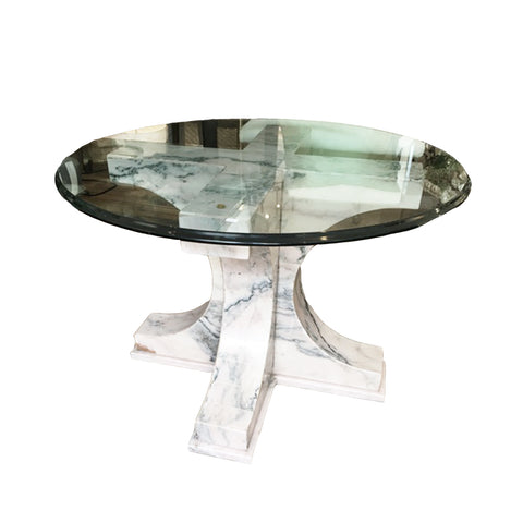 Glass Top Pink Marble Base Table