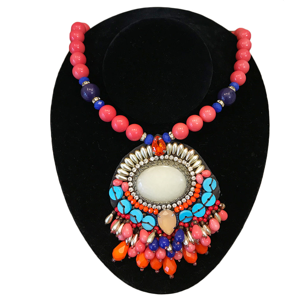 Coral Bead Pendant Necklace