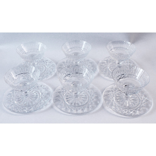 Set of 6 Waterford Crystal Sherberts & Stands