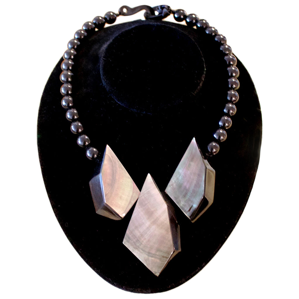 French Black Mother Of Pearl Necklace