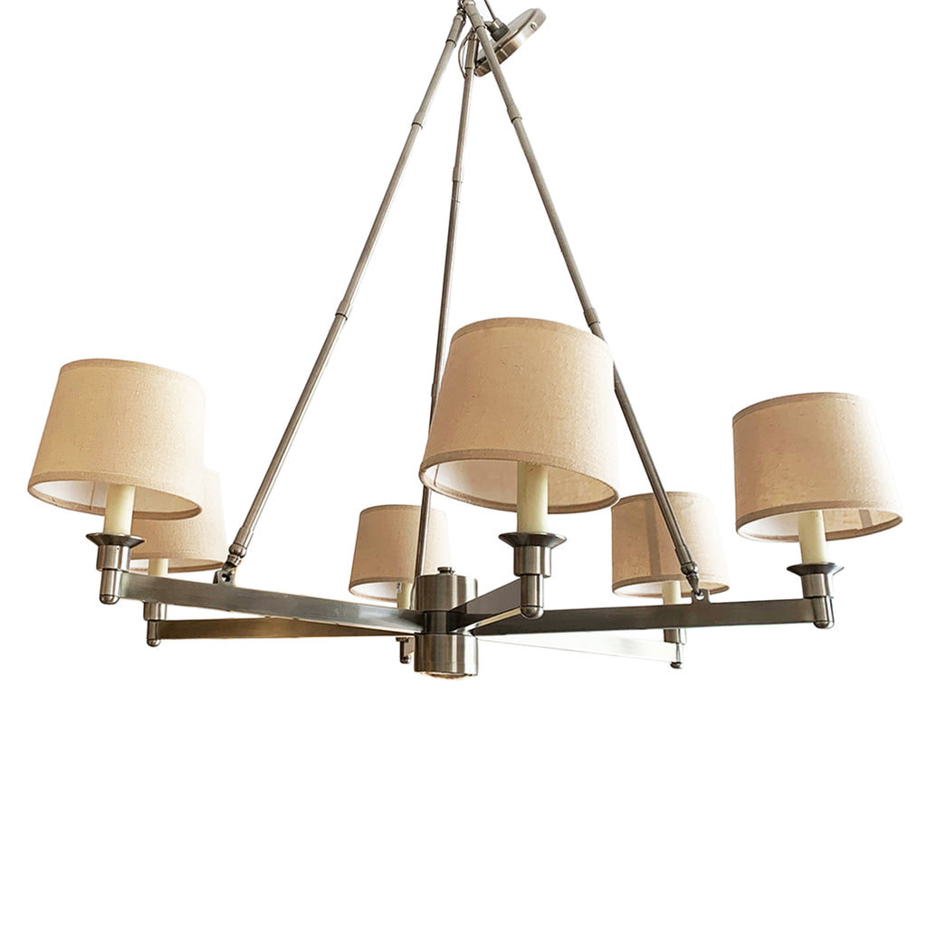 David Easton Six Shade Satin Nickel Ceiling Fixture