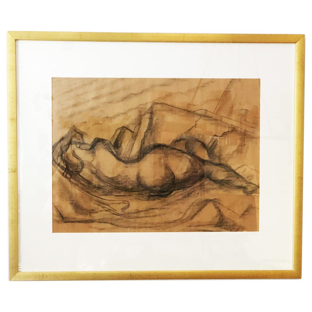 Framed Nude Charcoal Drawing By Lionel Lemoine Fitizgerald